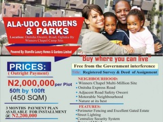 LAND FOR SALE IN OGBAKU OWERRI -  ALAUDO LUXURY GARDEN AND PARK